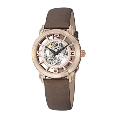 Stührling® Original Womens Rose Gold-Tone Skeleton Automatic Watch