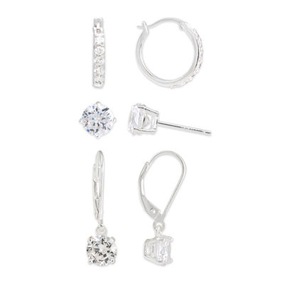 Cubic Zirconia Sterling Silver 3-pr. Earring Set
