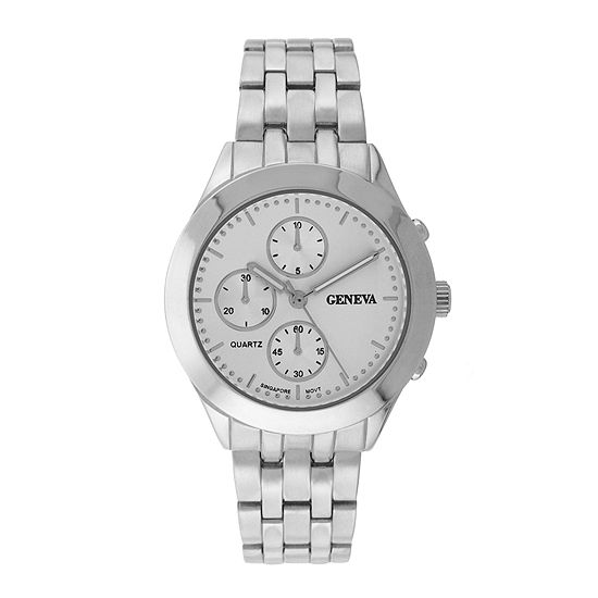 Geneva Womens Multifunction-Look Silver-Tone Bracelet Watch