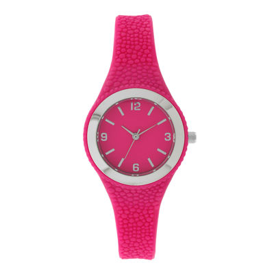 Womens Pink Rubber Strap Watch