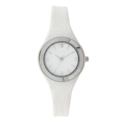 Womens White Rubber Strap Watch