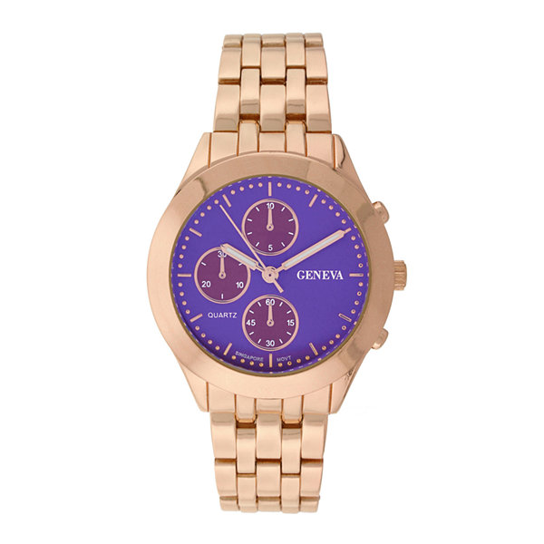 Geneva Womens Multifunction-Look Rose-Tone Bracelet Watch