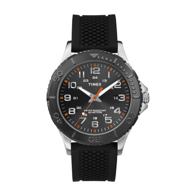 Timex® Main Street Mens Black Silicone Strap Watch