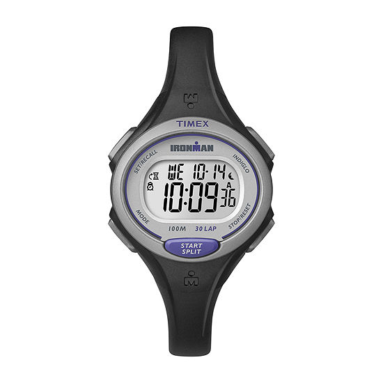 Timex® Womens Ironman 30 Lap Black Silicone Strap Digital Watch