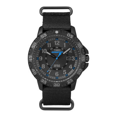 Timex® Rugged Mens Black Fabric Strap Watch
