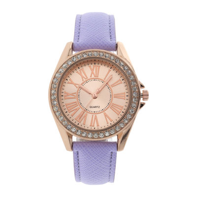 Womens Crystal-Accent Purple Strap Watch
