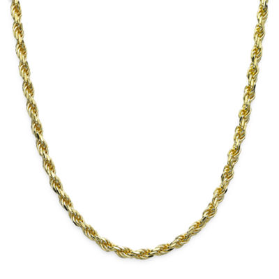 "Made in Italy 18K Gold over Sterling Silver Diamond-Cut Rope Chain 24"" Necklace"