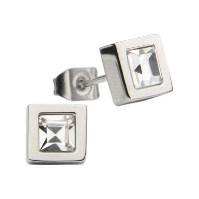 Stainless Steel Princess Crystal Stud Earrings
