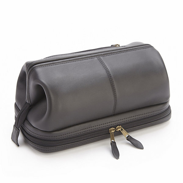 Royce Leather Royce 100% Leather Toiletry Bag with Zippered Bottom Compartment BArWfp