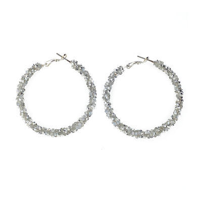 Bijoux Bar Clear 2 Inch Hoop Earrings