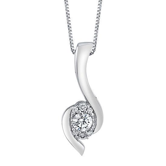 Womens 1/4 CT. T.W. Genuine White Diamond 14K White Gold Pendant