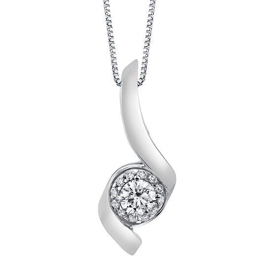 Womens 1/2 CT. T.W. Genuine White Diamond 14K White Gold Pendant