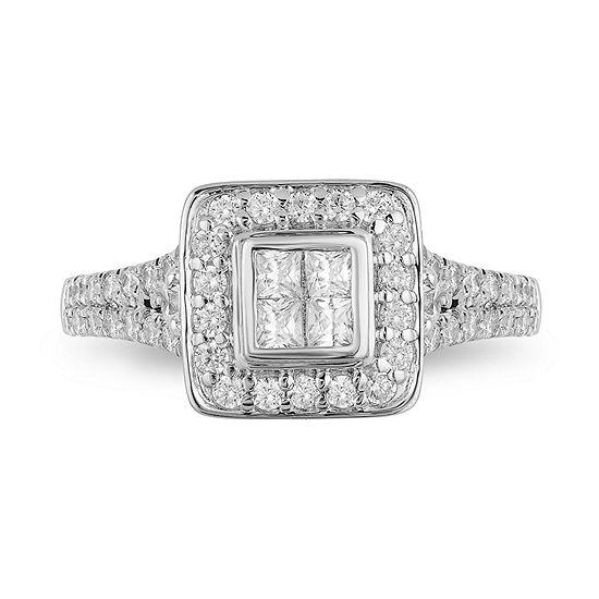Enchanted Disney Fine Jewelry Womens 1 CT. T.W. Genuine White Diamond 10K Rose Gold Engagement Ring