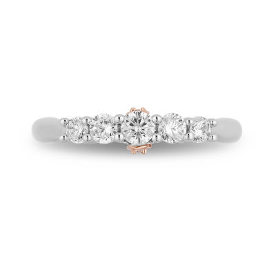 Enchanted Disney Fine Jewelry Womens 1/2 CT. T.W. Genuine White Diamond 14K Rose Gold Engagement Ring