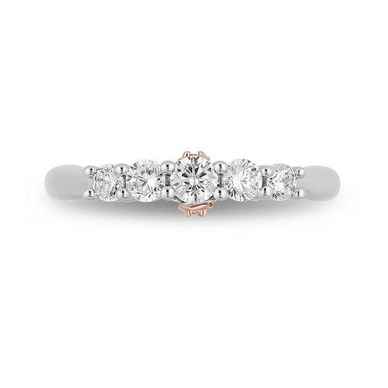 Enchanted Disney Fine Jewelry Womens 1/2 CT. T.W. Genuine White Diamond 14K Rose Gold Engagement Ring
