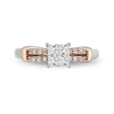 Enchanted Disney Fine Jewelry Womens 1/2 CT. T.W. Genuine White Diamond 10K Rose Gold Engagement Ring