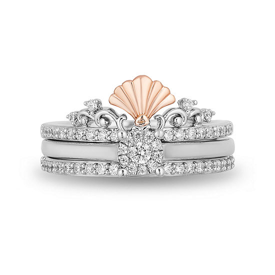 Enchanted Disney Fine Jewelry Womens 3/8 CT. T.W. Genuine White Diamond 10K Rose Gold Bridal Set