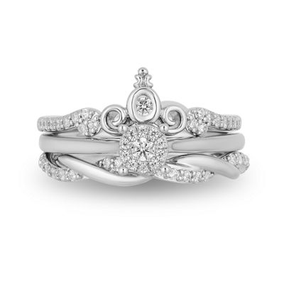 Enchanted Disney Fine Jewelry Womens 3/8 CT. T.W. Genuine White Diamond 10K White Gold Bridal Set