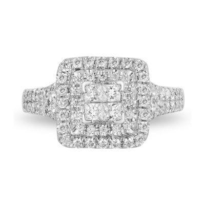 Enchanted Disney Fine Jewelry Womens 1 CT. T.W. Genuine White Diamond 10K White Gold Engagement Ring