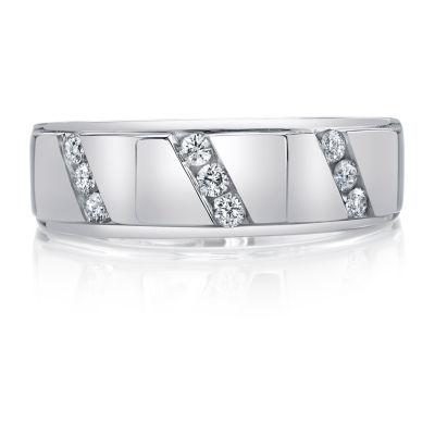 Mens 7.5MM 1/4 CT. T.W. Genuine White Diamond 10K White Gold Wedding Band