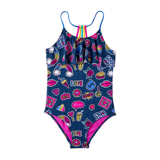 Limited Too Fun Emoji on Denim - 1 Piece Swimsuit - Girls