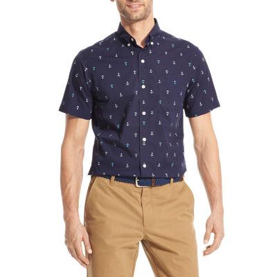 IZOD Breeze Mens Short Sleeve Cooling Button-Front Shirt
