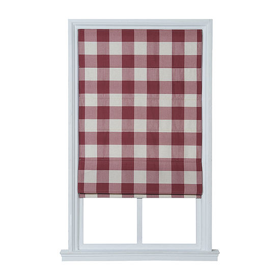 JCPenney Home Plaid Flat Custom Cordless Blackout Roman Shade