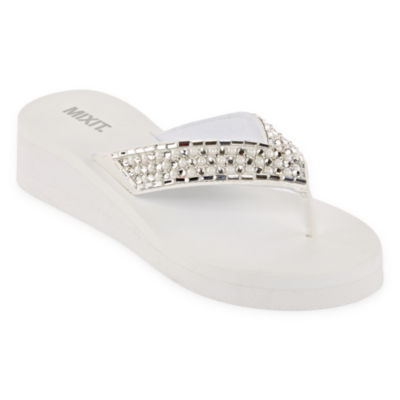Mixit Womens Pearl Thong Wedge Flip-Flops