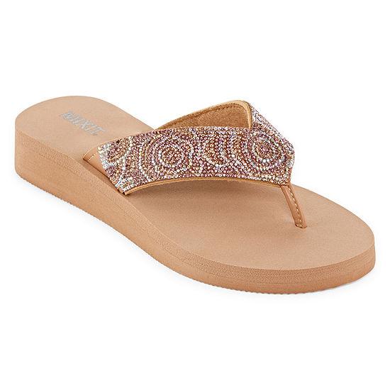Mixit Womens Rose Rhinestone Wedge Flip-Flops