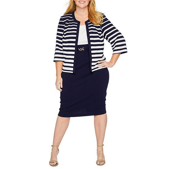 Studio 1-Plus 3/4 Sleeve Midi Jacket Dress
