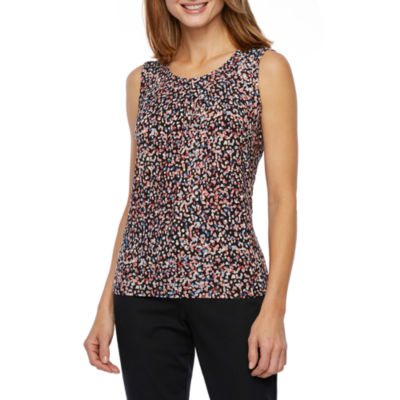 Black Label by Evan-Picone Sleeveless Abstract Dot Blouse