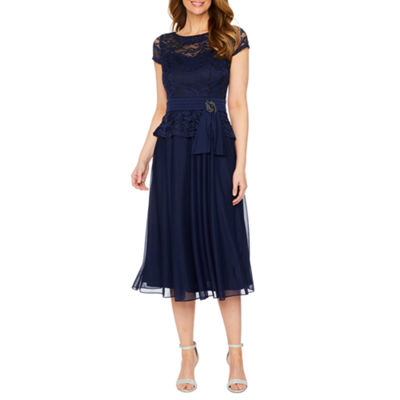 Jackie Jon Short Sleeve Peplum Dress