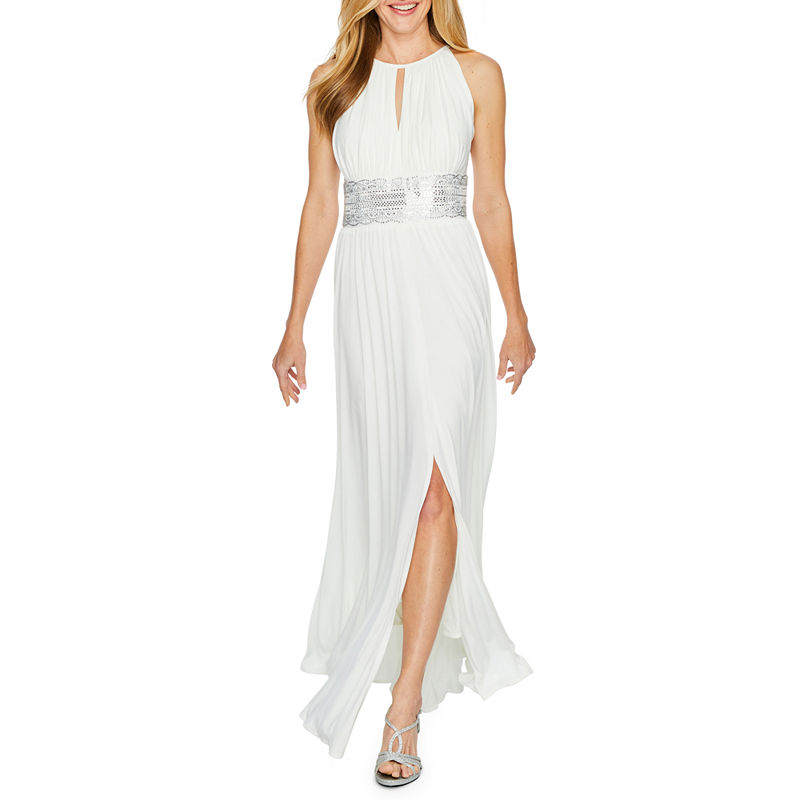 70s Dresses – Disco Dress, Hippie Dress, Wrap Dress R  M Richards Sleeveless Embellished Halter Evening Gown Womens Size 8 Beige $105.00 AT vintagedancer.com