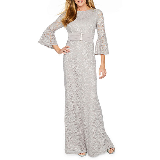 Onyx Nites 3/4 Bell Sleeve Embellished Lace Evening Gown