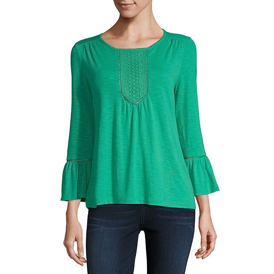Liz Claiborne Lace Inset Ruffle Sleeve Top - Tall