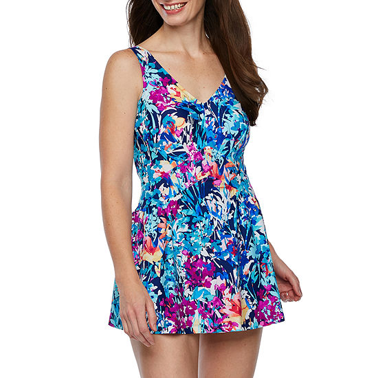 Azul by Maxine of Hollywood Floral Swim Dress