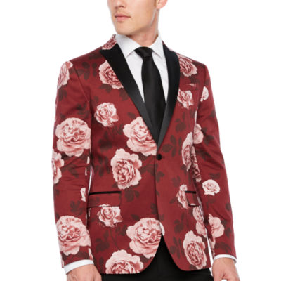 JF J.Ferrar Floral Slim Fit Stretch Tuxedo Jacket
