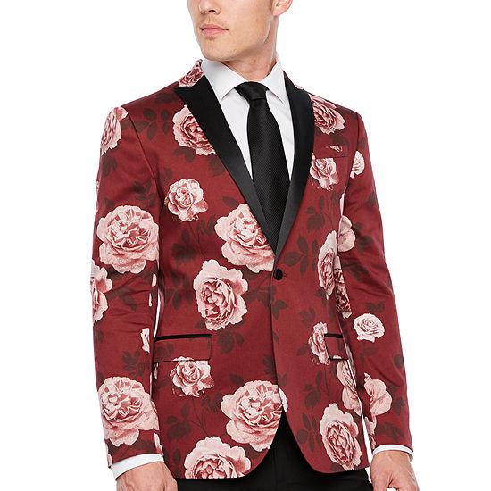 JF J.Ferrar Floral Slim Fit Stretch Tuxedo Jacket