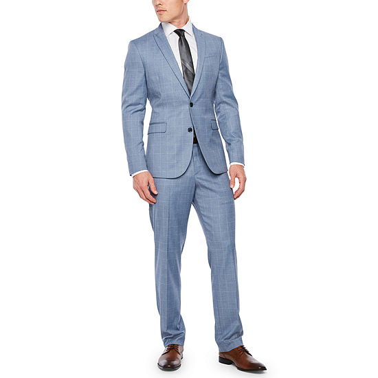 JF J.Ferrar Slate Blue Windowpane Slim Fit Suit Separates