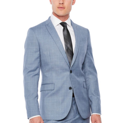 JF J.Ferrar Mens Windowpane Stretch Slim Fit Suit Jacket