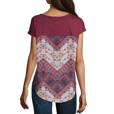 Rewind Womens Round Neck Short Sleeve Bohemian Blouse-Juniors