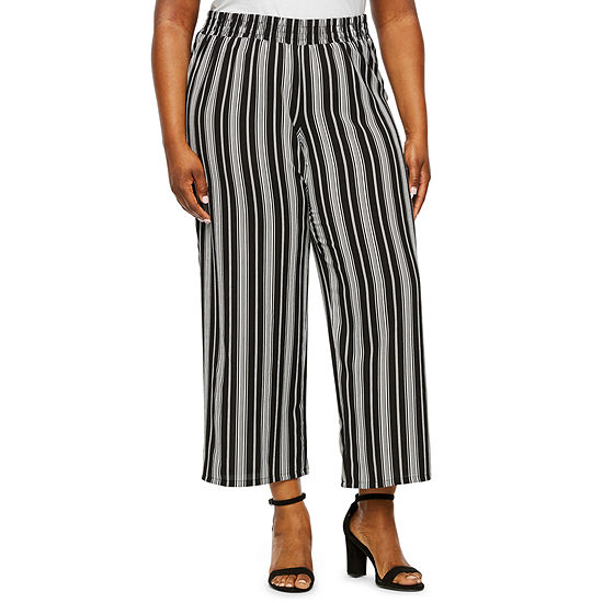 Alyx Womens Wide Leg Stripe Ankle Pant-Plus