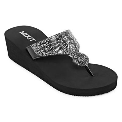 Mixit Womens Bling Wedge Flip-Flops
