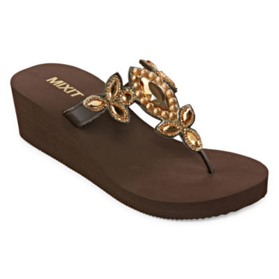 Mixit Womens Estate Chunky Wedge Flip-Flops