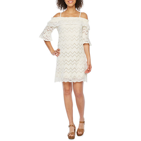 Vivi By Violet Weekend 3 4 Sleeve Cold Shoulder Lace Shift Dress