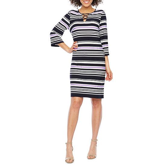 Studio 1 3/4 Sleeve Striped Shift Dress