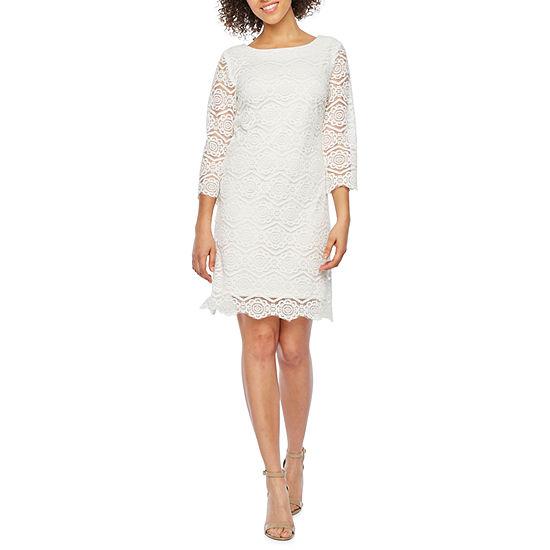 Ronni Nicole 3 4 Sleeve Lace Sheath Dress