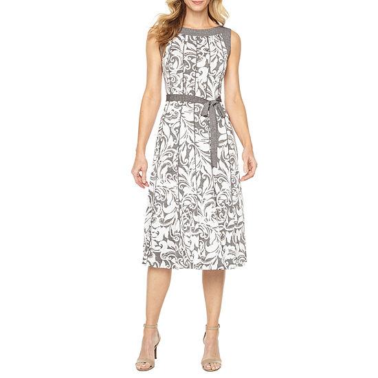 Perceptions Sleeveless Paisley Puff Print Fit Flare Dress