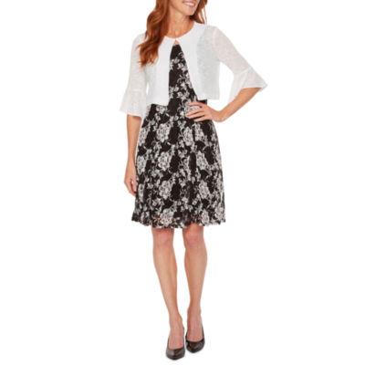 Perceptions 3/4 Bell Sleeve Lace Puff Print Jacket Dress