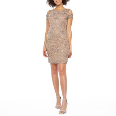 MSK Short Sleeve Cold Shoulder Beaded Shift Dress